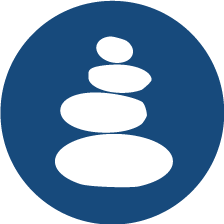 Circle icon featuring a cairn