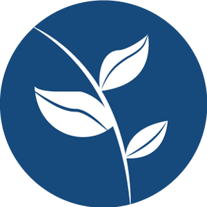 Circle icon featuring a stem and three leaves