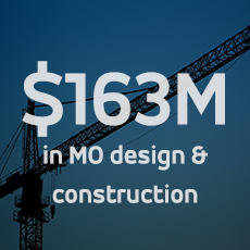 image of a crane; $163M in Missouri design and construction projects