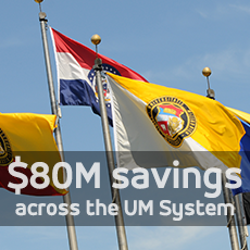 Image of UM System and MO flags; UM System saves $80 million per year on institutional support, which is 39% less than peers per student FTE