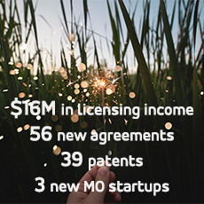 image of a spark of ingenuity; $16M in licensing income, 56 new licensing agreements, 39 patents, 3 new MO startups