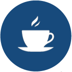 Circle icon featuring cup of coffee