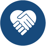 Circle icon featuring holding hands in the shape of a heart