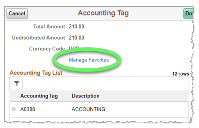 Screenshot: Accounting tag window has a