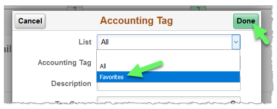 Screenshot: A drop down menu in the Accounting Tag filtering function allows filtering by favorites.