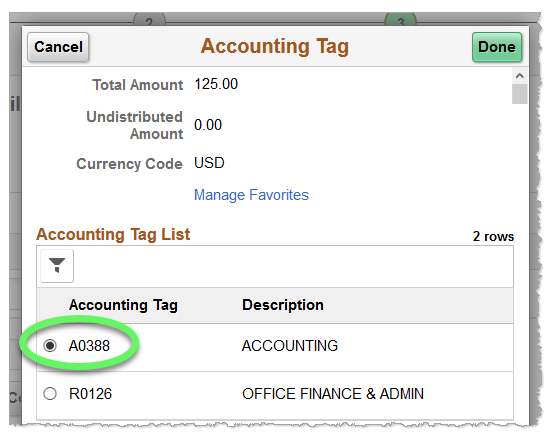Screenshot: Accounting Tag has filtered results containing only favorited accounting tags