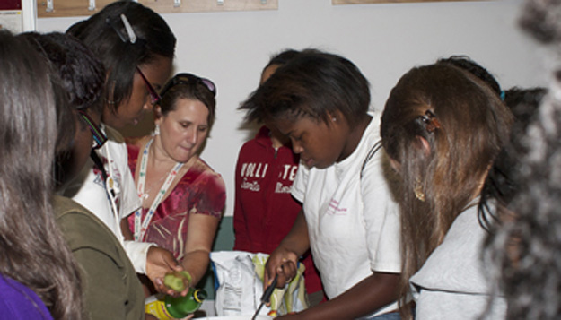 Group of campers at the UMSL Girls Leadership Camp. Image courtesy umsl daily