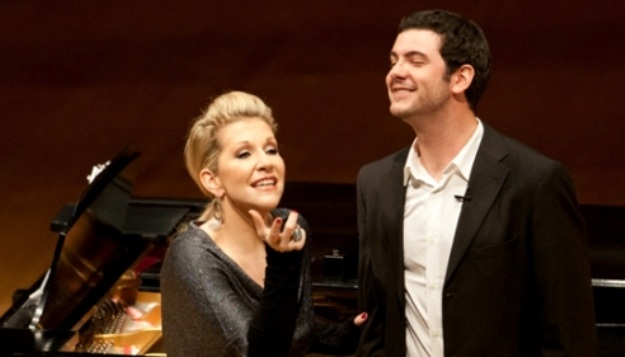 Opera superstar Joyce DiDonato offers Master Class guidance to UMKC student Chris Carr.