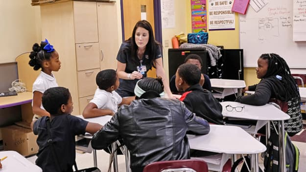 Nursing students educate at elementary schools in ongoing service learning program