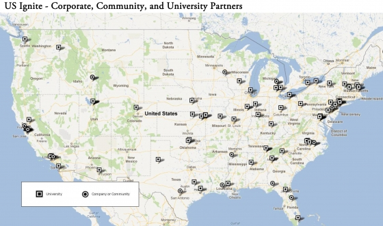 US Ignite Corporate, Community and University Partners Map.  Courtesy of www.whitehouse.gov