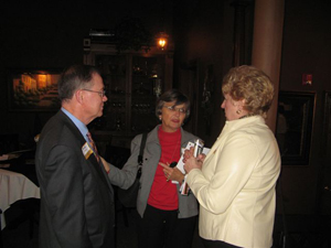 Rep. Ellen Brandom (R-Sikeston), center, visits with MU Chancellor Brady Deaton and a guest.