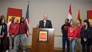Gov. Jay Nixon announces agreement with public four-year higher education institutions to hold tuition flat in 2010-2011 academic year at a press conference at the University of Missouri-St. Louis.